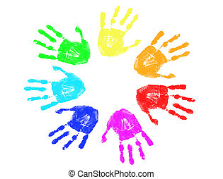 Huellas de manos del arco iris