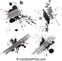 Huellas de neumáticos negros aisladas en el fondo blanco