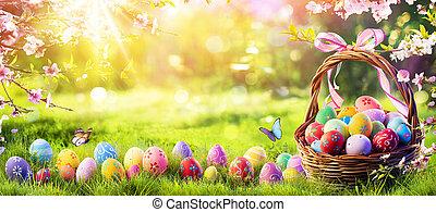huerto, soleado, hierba de pascua, pintado, cesta, huevos