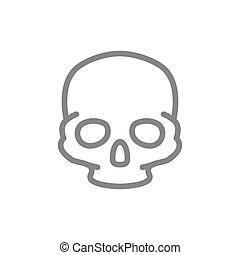 hueso, humano, estructura, icon., línea, símbolo, cráneo, cabeza
