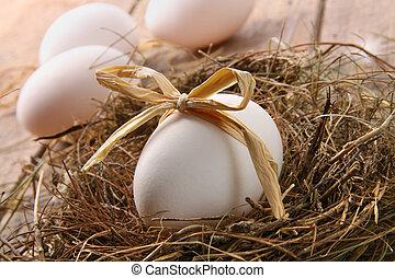 Huevo blanco con arco de paja en la madera