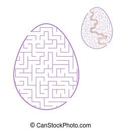 Huevo de color laberinto. Los niños trabajan. Página de actividad. Un rompecabezas para niños. Fiesta de Pascua. El enigma del laberinto. Ilustración de vectores.