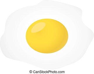 Huevo frito aislado en fondo blanco.
