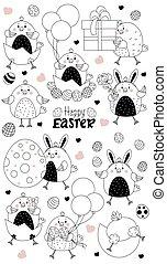 huevo, gift., niño, conjunto, tramado, characters., globos, niña, -, lindo, pascua, línea, polluelos, caja, huevos, pollo, vector, ilustración