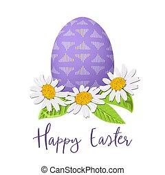 Huevo púrpura de Pascua y corona de margaritas. Huevo festivo decorado con adornos abstractos simples