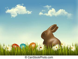huevos, chocolate, grass., vector., conejito de pascua