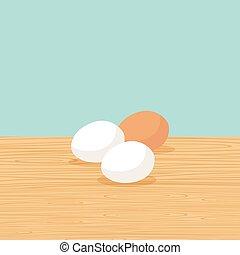 Huevos de granja naturales en la mesa
