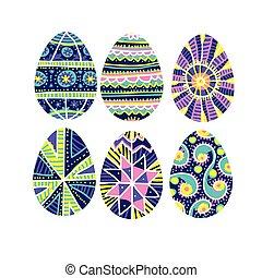 Huevos de Pascua con decoración tradicional hecha a mano