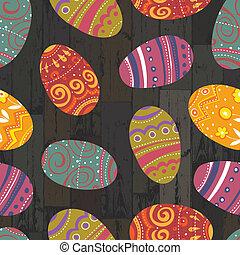Huevos de Pascua con tablas de madera. Vector, EPS10
