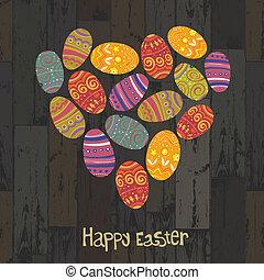 Huevos de Pascua. Corazón con forma de tablas de madera. Vector, EPS10