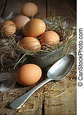 Huevos marrones frescos en un contenedor viejo con cuchara