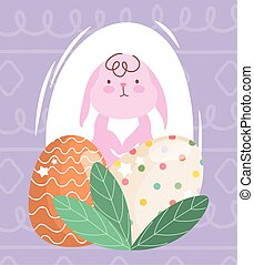 huevos, pascua, rosa, feliz, follaje, decortive, conejo