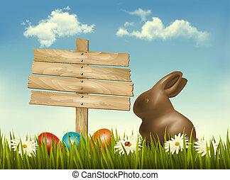 huevos, señal, field., vector., conejito chocolate pascua