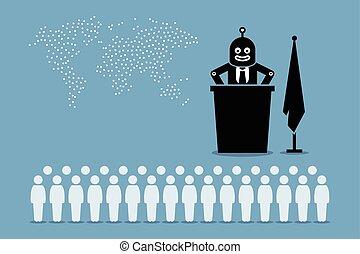human., mundo, robot, presidente, gobierno, controlador, país, artificial, inteligente