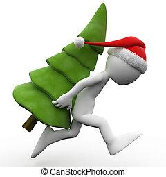 Humano 3D con un árbol de Navidad