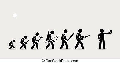 humano, armas, historia, timeline., evolución