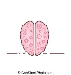 humano, brain., illustration., vector, health., mental