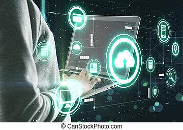 humano, datos, tajar, servicio, virtual, sistema, almacenamiento, protección, computadora de computadora portátil, nube, iconos