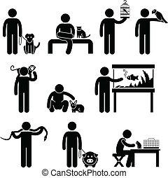 humano, mascotas, pictogram