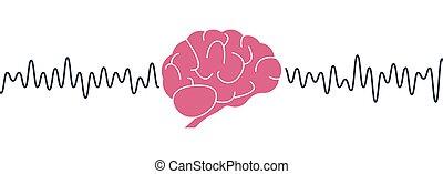 humano, mental, aislado, concept., wave., mente, rosa, onda, cerebro, blanco, ilustración, actividad, waves., fondo., vector