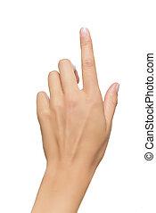 humano, punto, mano, dedo