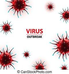 humano, vector, virus, coronavirus, brote, epidemia, ilustración