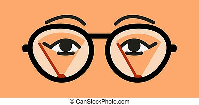 humedad, cierre, glasses., limpieza, brumoso, lentes, ojos, fog., limpiaparabrisas, vector, hembra, arriba., misted, plano, cejas, anteojos, ilustración, problem., surface.