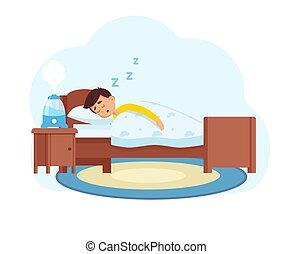 humedecedor, niño pequeño, trabaja, dónde, habitación, duerme