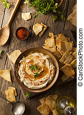 Hummus crema casera saludable