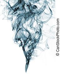 Humo de color azul de fondo blanco