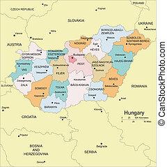 hungría, distritos, administrativo, circundante, países