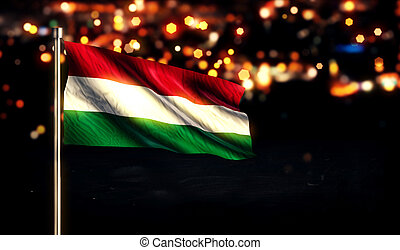 hungría, luz de la ciudad, bandera, nacional