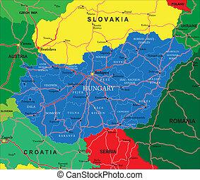 hungría, mapa
