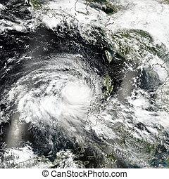 Huracán del espacio. Vista satelital. Elementos de esta imagen provista por la NASA