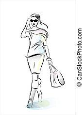 hurring, niña, bolso de compras