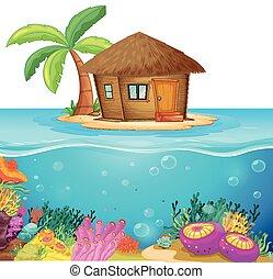 Hut en la isla en el medio del océano