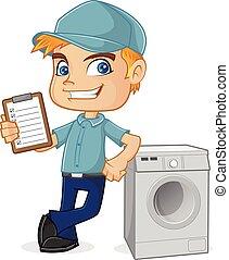 HVAC Technician apoyado en la lavadora