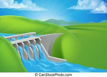hydro, dique, agua, generar, electricidad, potencia