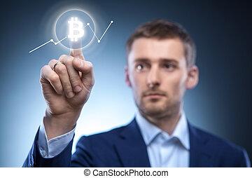 Icon Bitcoin en pantalla virtual.