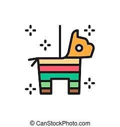 icon., caballo, dulce, mexicano, línea plana, pinata, confeti, color