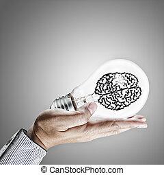 Icon cerebro en bombilla como concepto