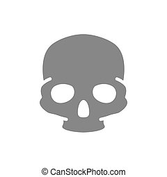 icon., cráneo, estructura, hueso, humano, gris, símbolo, cabeza