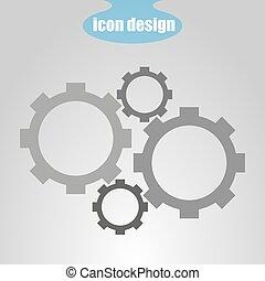 Icon cuatro engranajes en un fondo gris. Ilustración de vectores