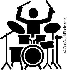 Icon de un baterista con batería