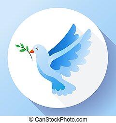 icon., divino, icono, god., azul, -, tierra, paloma, símbolo., símbolo, dios, ángel, libre, rama, paz, pájaro, concept., vuelo, providencia, pacifism