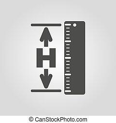 icon., hgt, altura, nivel, elevación, altitud, símbolo., plano