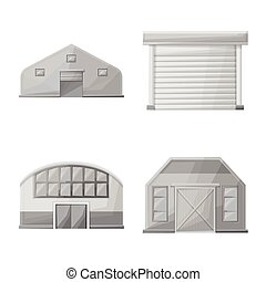 icon., illustration., vector, diseño, granero, granja, conjunto, arquitectura, acción