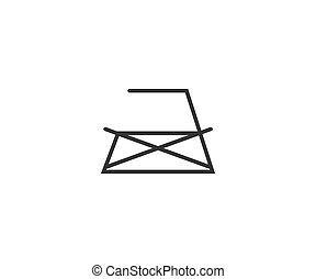 icon., lavado, hierro, planchado, plano, design., ilustración, vector, cuidado