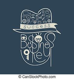 Icon negocio clave de éxito de letras concepto