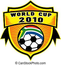 Icon para 2010 Copa mundial de fútbol con pelota de fútbol con bandera de la república del sur de África dentro de un escudo